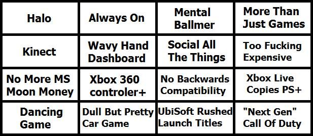 Xbox Press Conference Bullshit Bingo